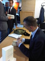 John Rentoul signing copies of his magnum opus.