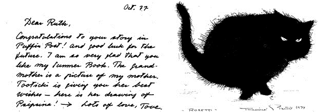 Letter from Tove Jansson, dated October 1977 (the drawing of Psipsina the cat is by Tove's partner Tooticki)