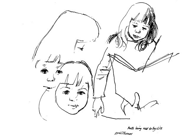 Sketch by Eric Thomas, 'Ruth being read to by Liz.'