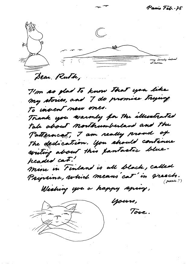 Tove Jansson's first letter from Paris, dated February 1975