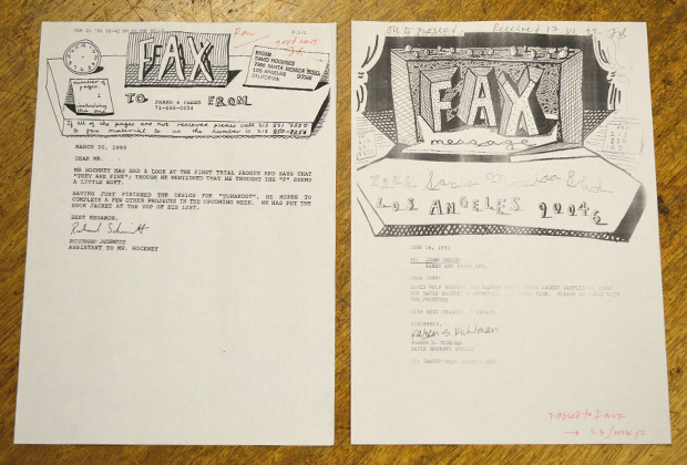 Hockney's original headed fax paper