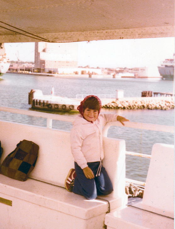 Ella setting off on holiday, aged 5, in 1978